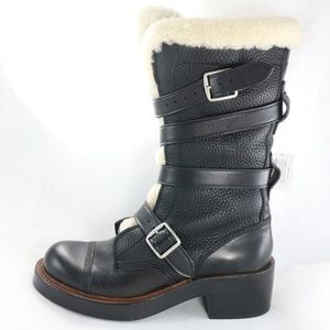 COACH Moto Shearling Pebbled Leather Buckle Boots